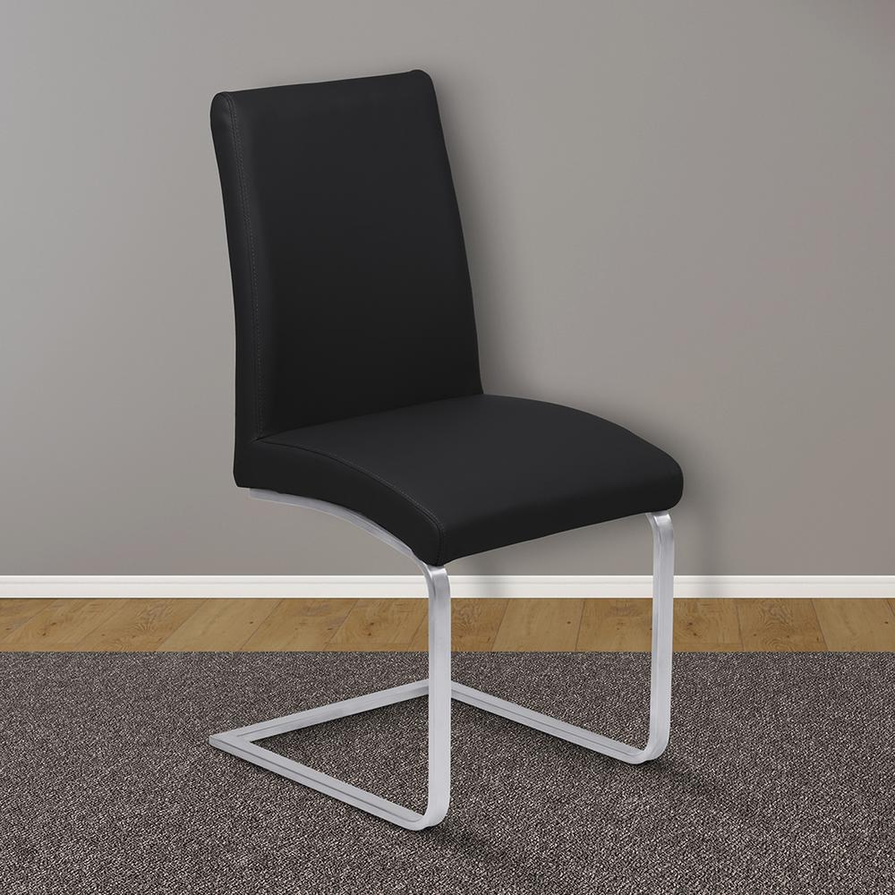 contemporary dining chairs leather. Black Faux Leather And Brushed Stainless Steel Finish Contemporary Dining Chairs N