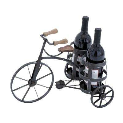 2-Bottle Black Wine Holder with Solid and Durable Construction