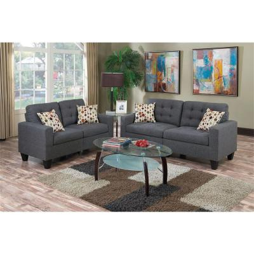 2-Piece Grey Polyfiber Sofa Set with Tufted Cushions