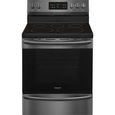 30 in. 5.4 cu. ft. Single Oven Electric Range with Self-Cleaning Convection Oven in Black Stainless Steel