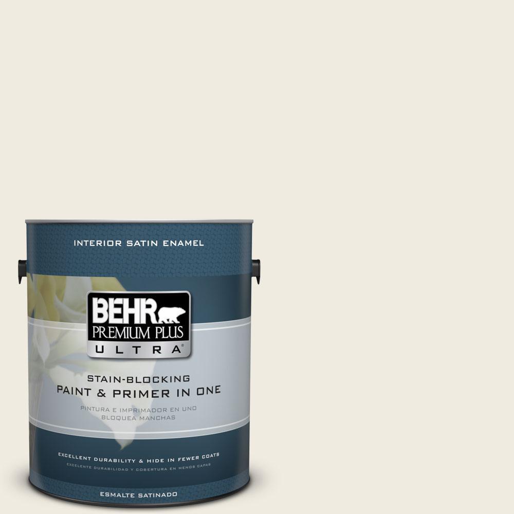 BEHR Premium Plus Ultra 1-Gal. #PPU10-14 Ivory Palace Satin Enamel Interior Paint