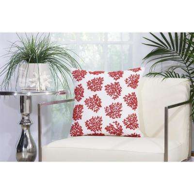 Beaded Corals 18 in. x 18 in. Red and White Indoor and Outdoor Pillow
