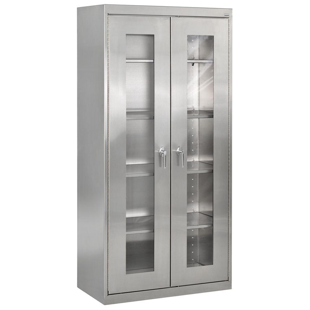 D 5 Shelf Stainless Steel Clearview Cabinet With Swing Handle Lock