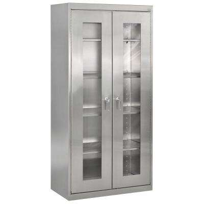 72 in. H x 36 in. W x 18 in. D Stainless Steel Clearview Cabinet with Swing Handle Lock
