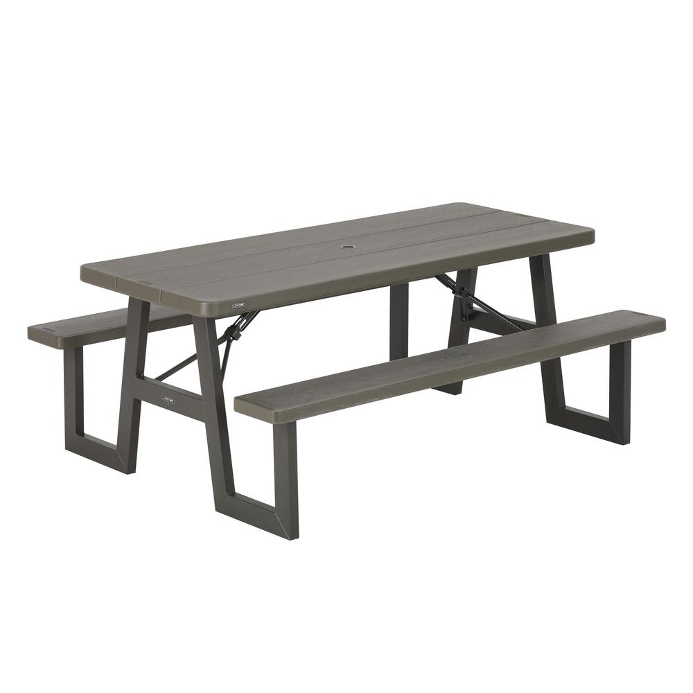 lifetime 6 ft folding picnic table with benches 22119 the home depot. Black Bedroom Furniture Sets. Home Design Ideas