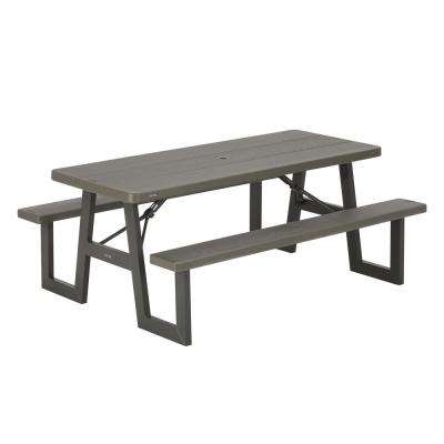 W Frame Brown Folding Picnic Table