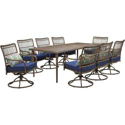 Summerland Faux-Wood 9-Piece Aluminum Outdoor Dining Set with Navy Cushions 8 Swivel Rockers, 82 in. x 40 in. Table