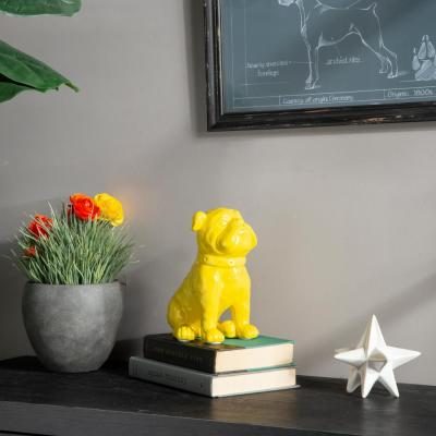 8 in. H Dog Decorative Figurine in Yellow Gloss Finish