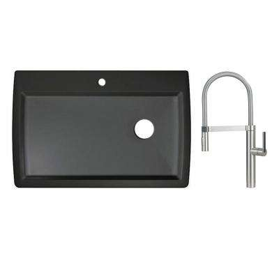 Diamond Dual Mount Granite Composite 33 in. 1-Hole Single Bowl Kitchen Sink in Anthracite with Faucet in Satin Nickel
