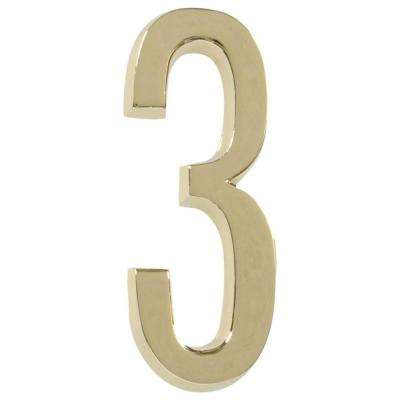 4 in. Distinctions Brass Plated Number 3