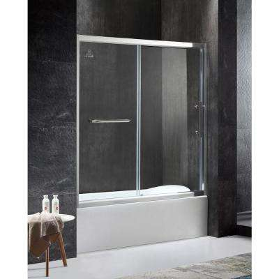 Keep 60.43 in. x 59.06 in. Framed Sliding Tub Door in Chrome with Handle
