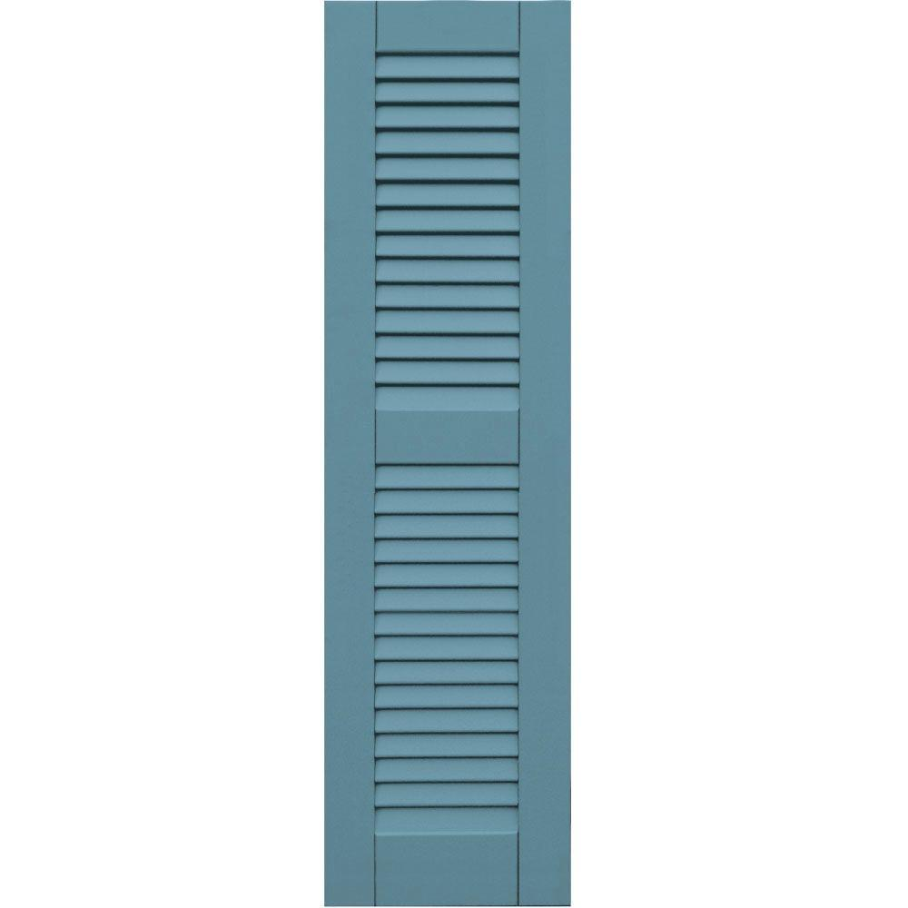 null Wood Composite 12 in. x 44 in. Louvered Shutters Pair #645 Harbor