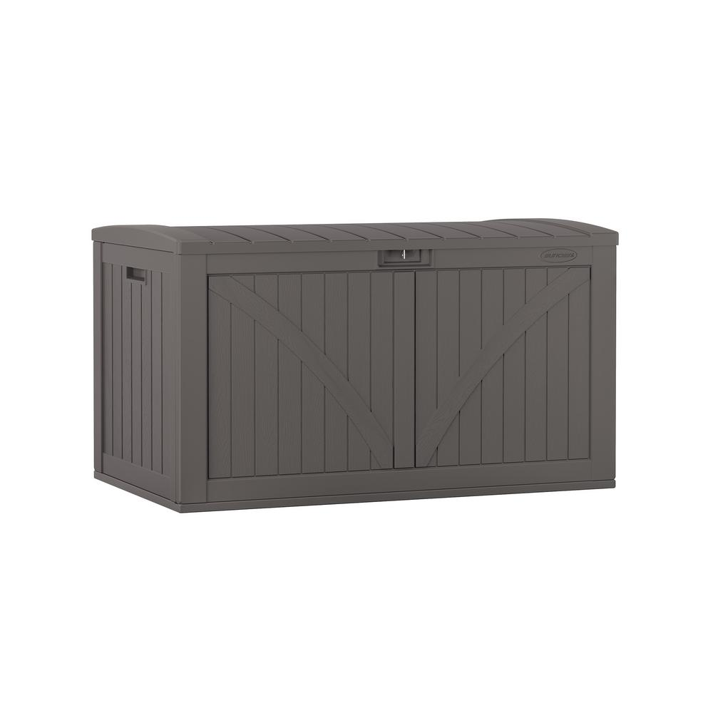 Large Outdoor Plastic Garden Storage Shed Grey Patio Cushion Box Tool Chest Unit