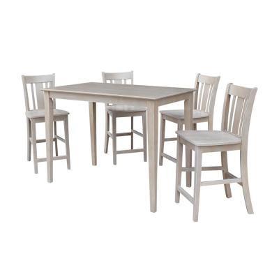 Mia 5-Piece 30 in. Weathered Taupe Rectangular Solid Wood Dining Set with San Remo Chairs