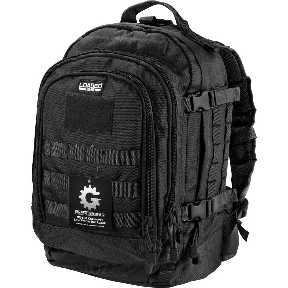 651eb44a81e Loaded Gear GX-500 Medium 17.72 in. Black Ballistic Nylon Crossover Backpack