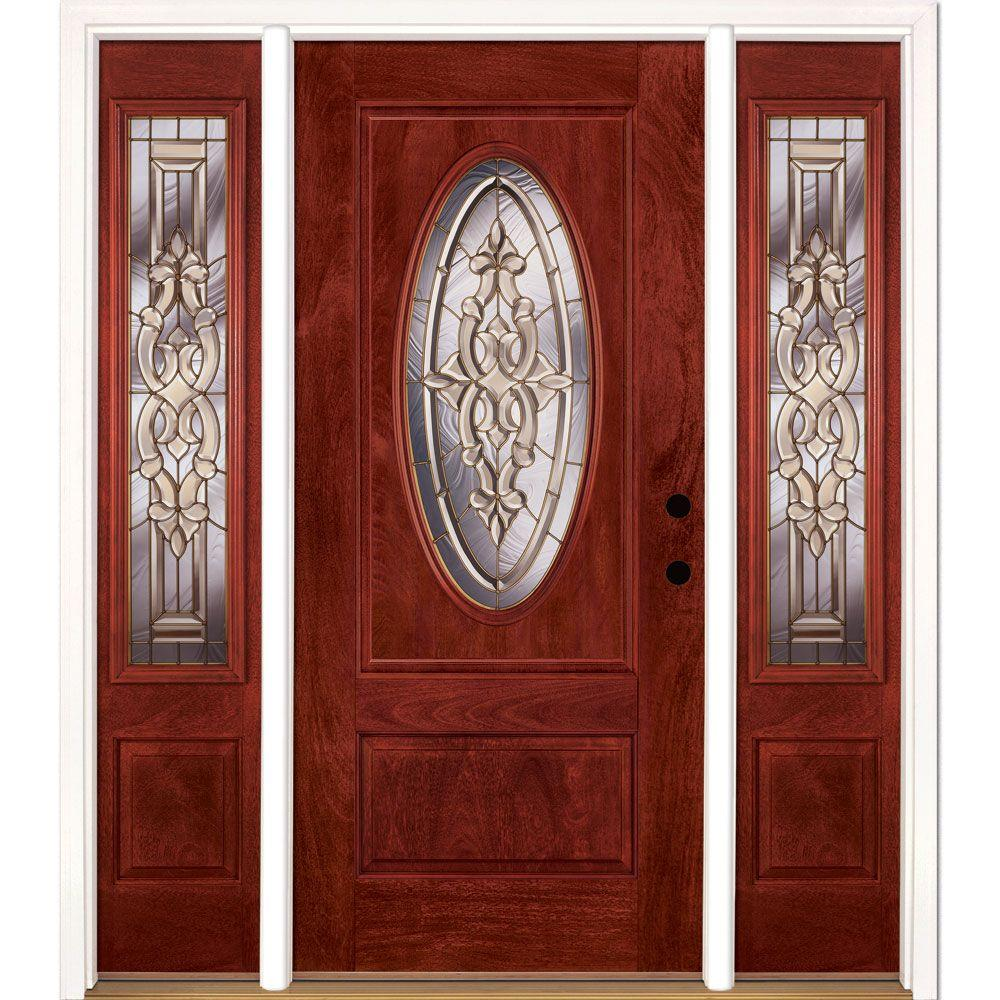 63.5 in.x81.625in.Silverdale Brass 3/4 Oval Lt Stained Cherry Mahogany Lt-Hd