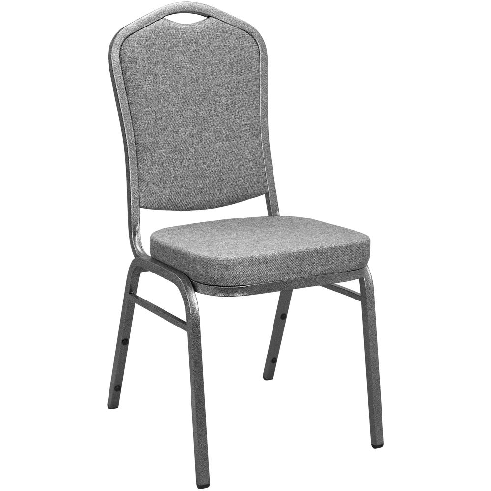 Charcoal Grey Fabric Crown Back Banquet Chair (Set Of 2)