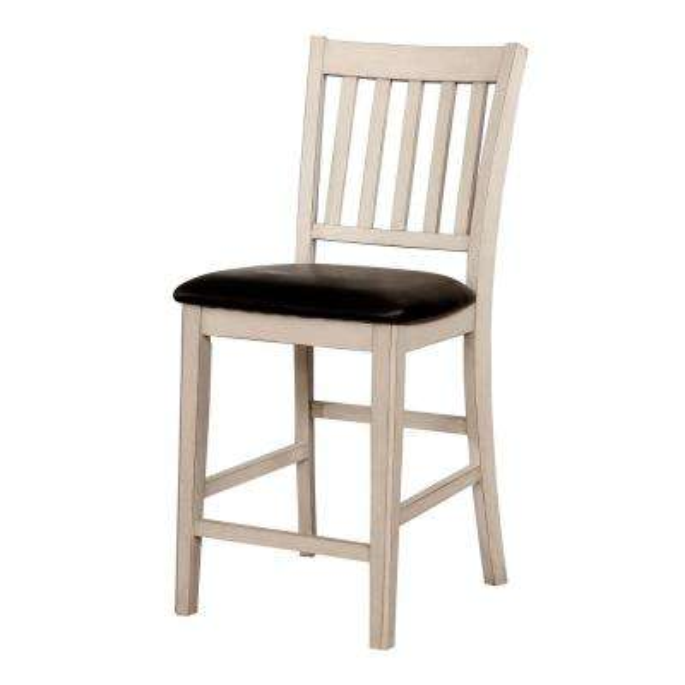 Tina White Leatherette Slat Pub Chair (Set of 2)