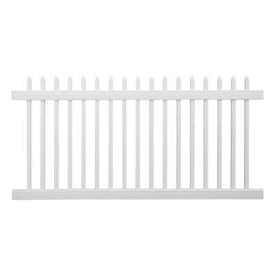 Abbington 4 ft. H x 8 ft. W White Vinyl Picket Fence Panel Kit
