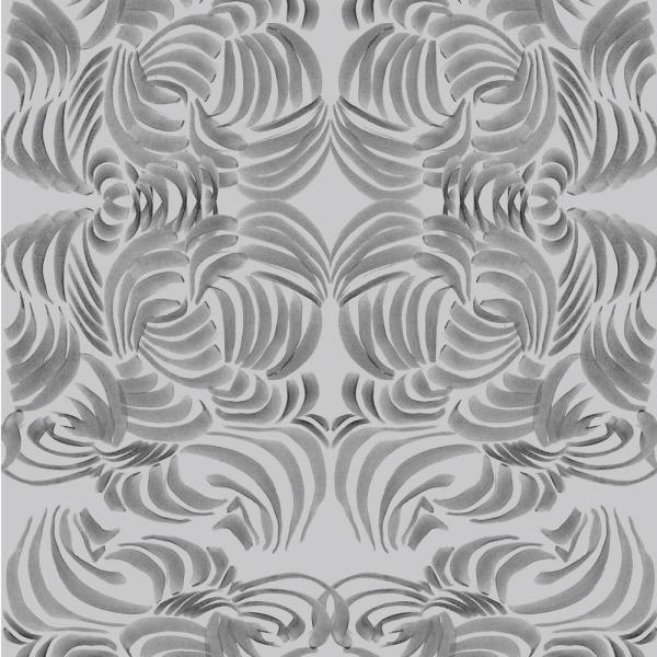Mitchell Black ABRA Collection Silver Flora Removable and Repositionable Wallpaper