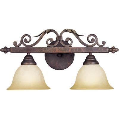 Olympus Tradition Collection 2-Light Crackled Bronze with Silver Bath Bar Light