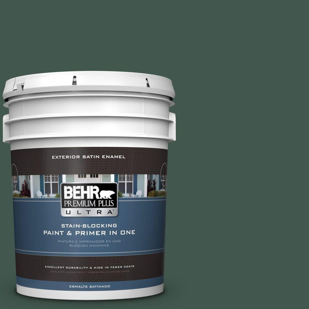 BEHR Premium Plus Ultra 5-gal. #BXC-33 Jolly Green Satin Enamel Exterior Paint