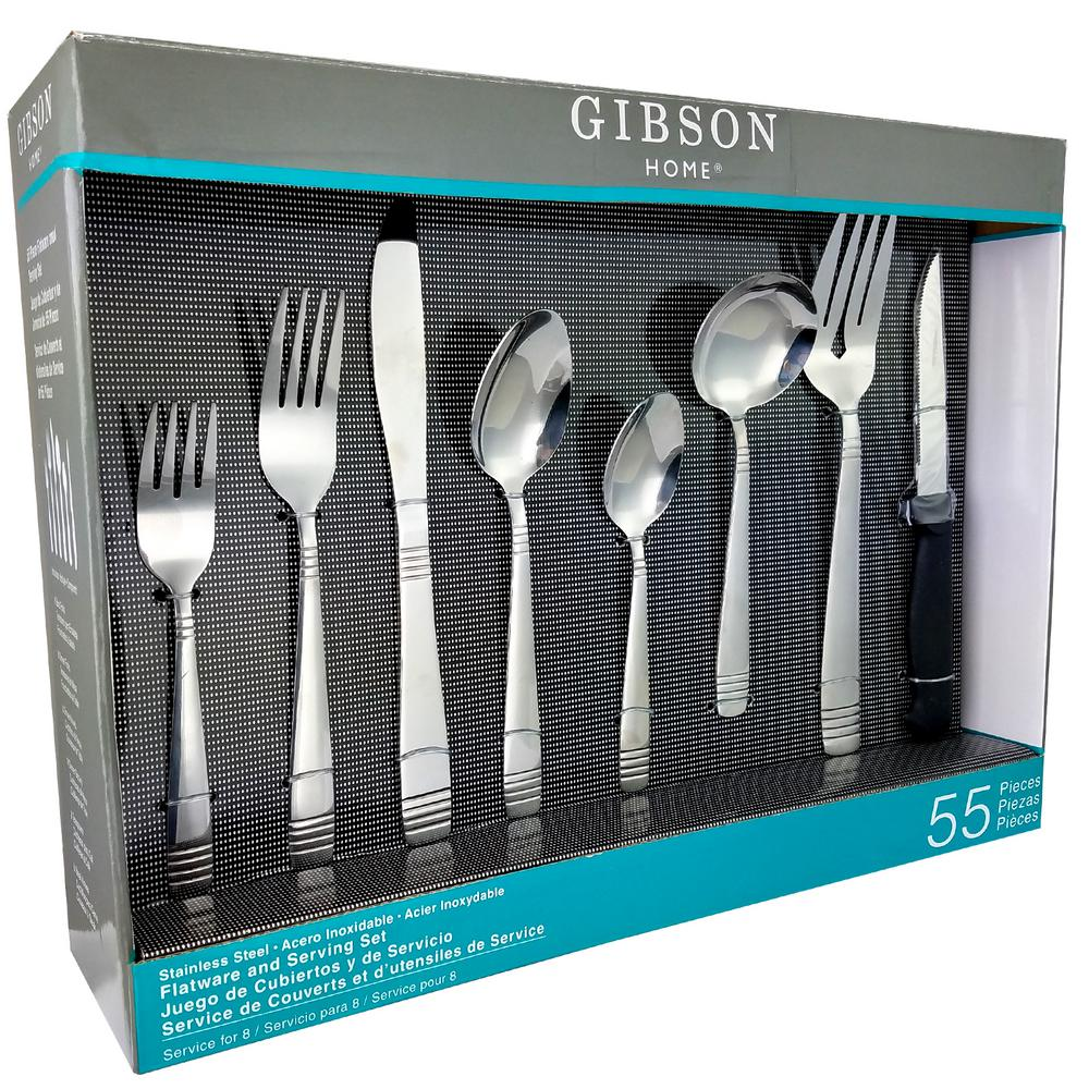 Palmore Plus 55-Piece Stainless Steel Flatware Set