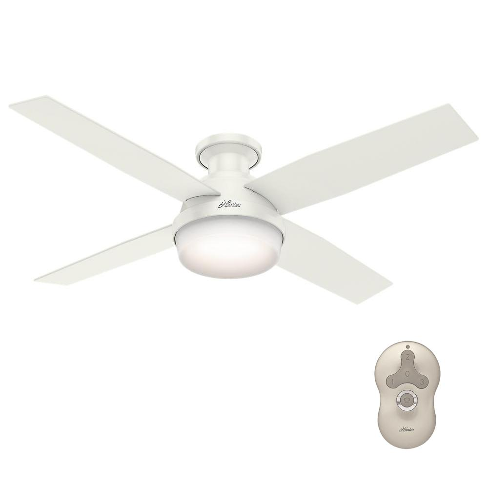 Hunter Dempsey 52 In Low Profile Led Indoor Fresh White Ceiling Fan With Universal Remote 59242