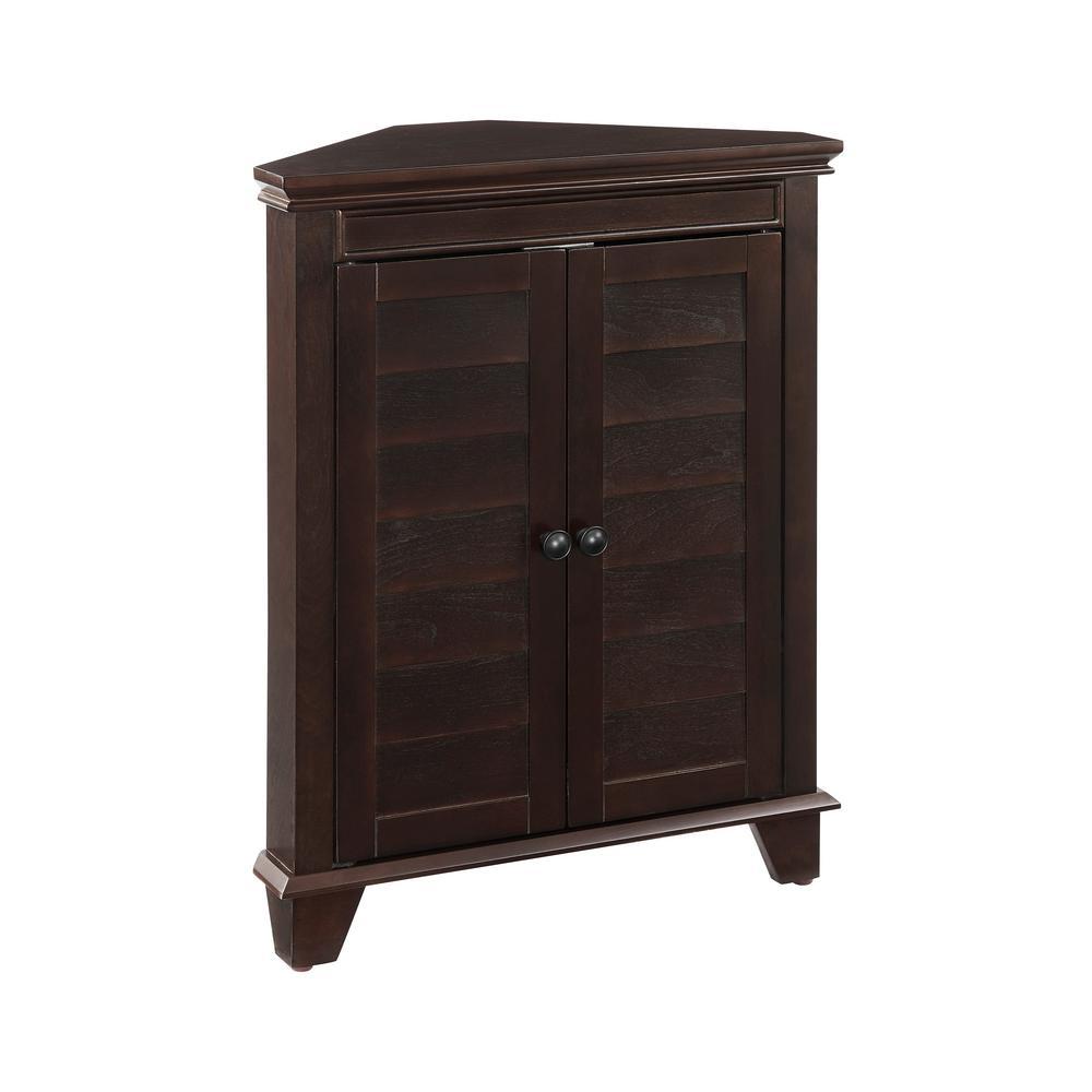 Lydia Espresso Corner Cabinet