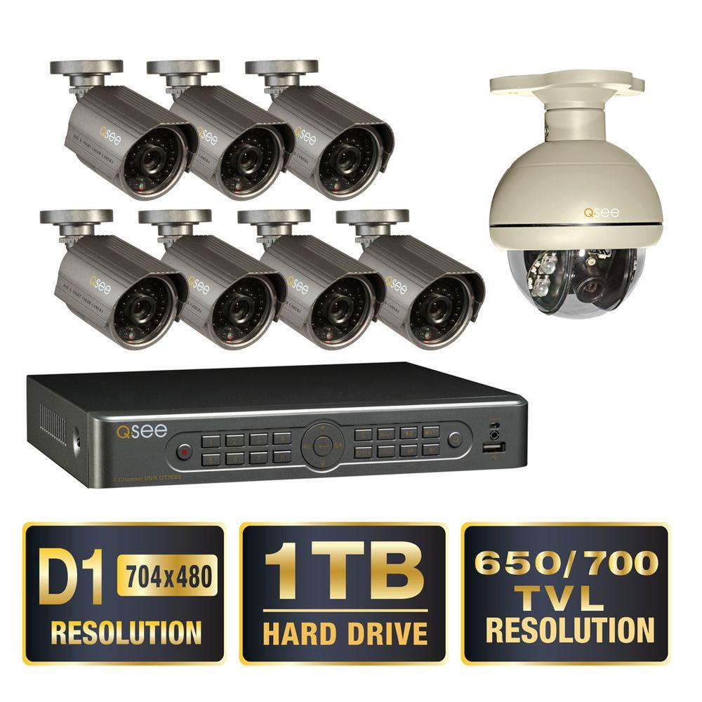 Q-SEE Premium Series 8-Channel Full D1 1TB Video Surveillance System with (7) Hi-Res 900 TVL Cameras and (1) Pan Tilt Camera