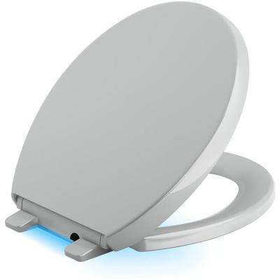 Reveal LED Nightlight Round Closed Front Toilet Seat in Ice Grey