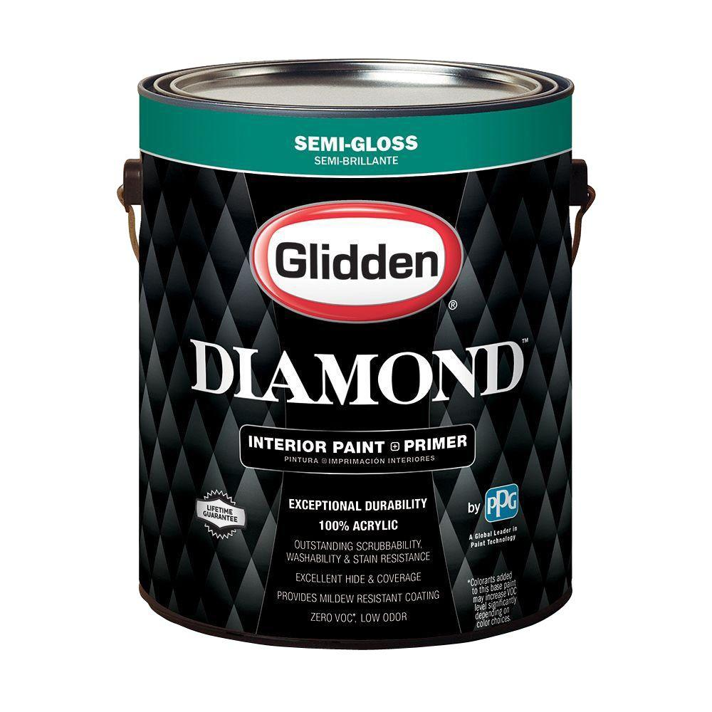 glidden diamond 1 gal pure white semi gloss interior paint and primer gld 7411 01 the home depot. Black Bedroom Furniture Sets. Home Design Ideas