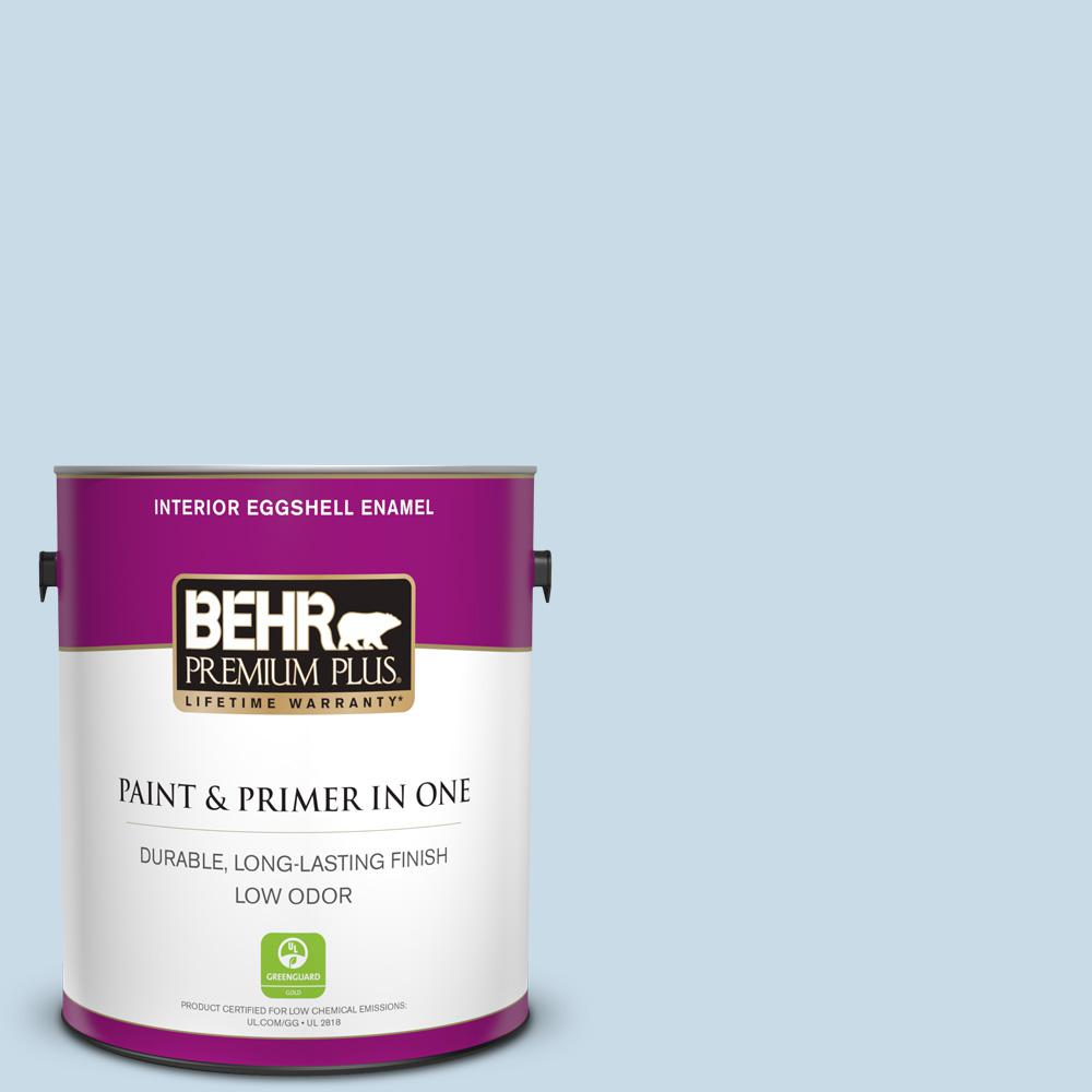 BEHR Premium Plus 1 gal. #M510-1 Blue Me Away Eggshell Enamel Low Odor Interior Paint and Primer in One
