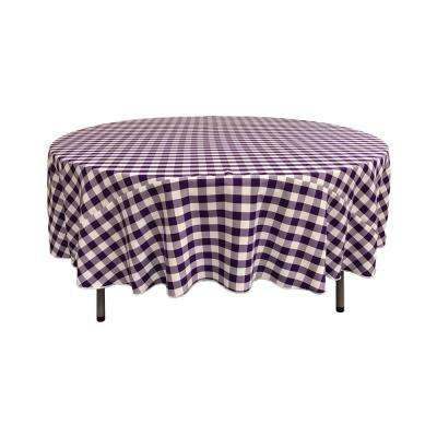72 in. White and Purple Polyester Gingham Checkered Round Tablecloth