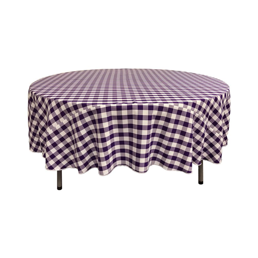 LA Linen 90 In. White And Purple Polyester Gingham Checkered Round  Tablecloth