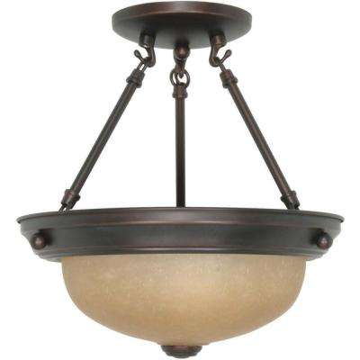 2-Light Mahogany Bronze Semi-Flush Mount Light with Champagne Linen Washed Glass