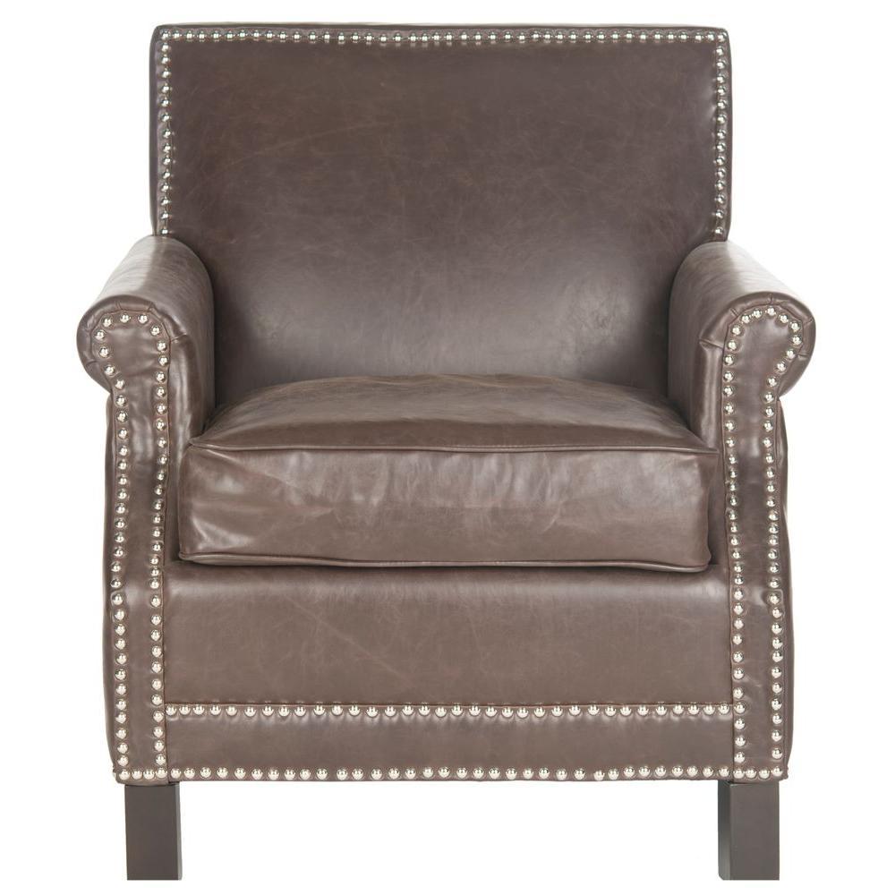 Safavieh Easton Antique Brown/Espresso Bicast Leather Club Arm Chair - Safavieh Easton Antique Brown/Espresso Bicast Leather Club Arm Chair