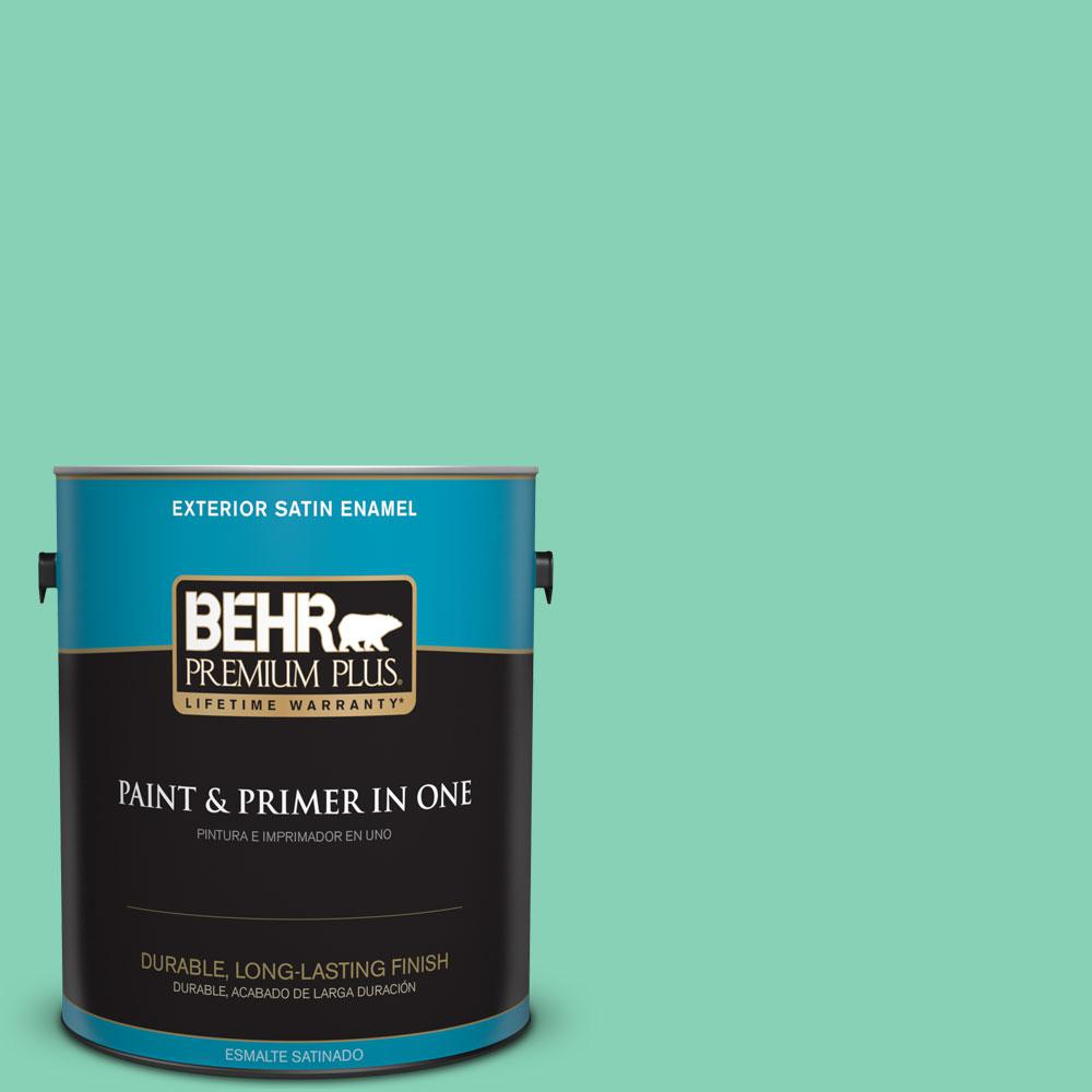 1-gal. #P420-3 Tropical Trail Satin Enamel Exterior Paint