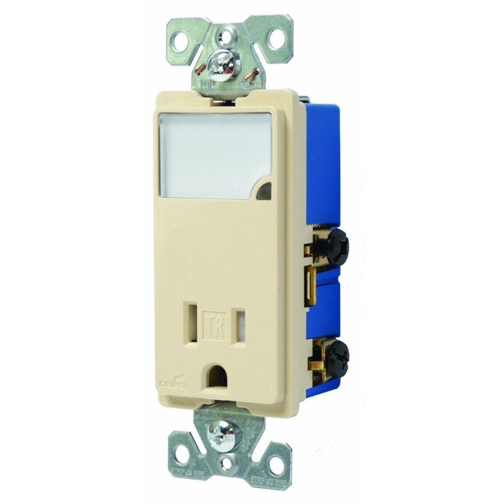 50 Amp Electrical Outlets Receptacles Wiring Devices Light Lighting Circuit Diagram Junction Box 3 Wire Receptacle Combo Nightlight With Double Pole Tamper Resistant Ivory