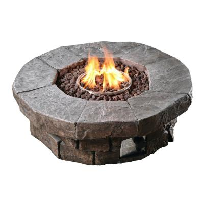 37.01 in. x 37.01 in. Round Stone Look Outdoor Propane Gas Fire Pit