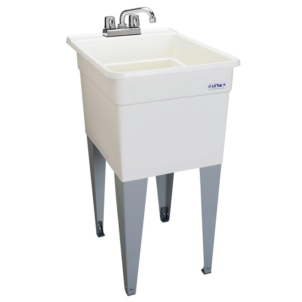 Utility sinks accessories plumbing the home depot polypropylene floor mounted laundry tub in white workwithnaturefo