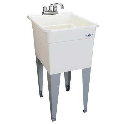 Utilatub Combo 24 in. x 18 in. Polypropylene Floor Mounted Laundry Tub in White