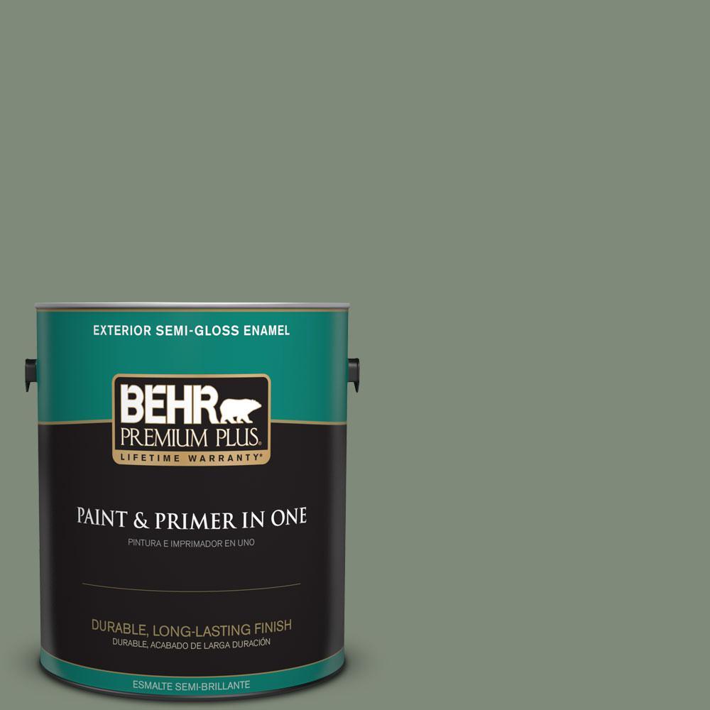 1-gal. #N400-5 Thai Basil Semi-Gloss Enamel Exterior Paint