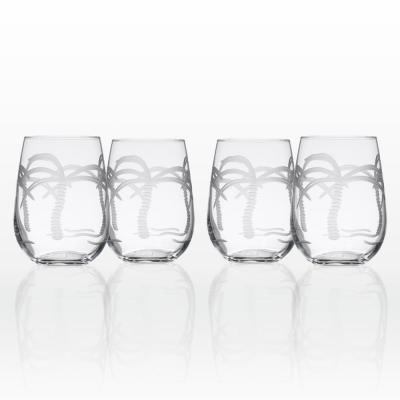 Palm Tree 17 oz. Clear Stemless Wine Tumbler (Set of 4)