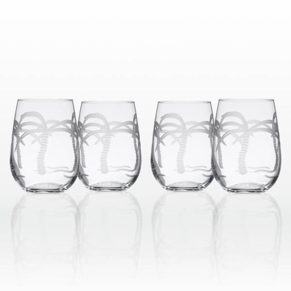 Rolf Glass Palm Tree 17 oz. Clear Stemless Wine Tumbler (Set of 4)