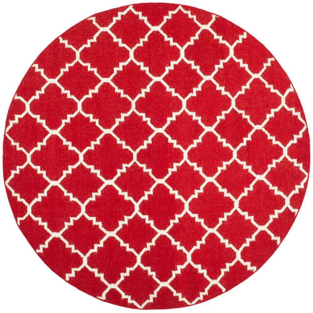 Safavieh Dhurries Red/Ivory 6 ft. x 6 ft. Round Area Rug