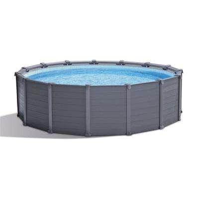 Intex 15 ft. 8 in. x 49 in. Metal Frame Above Ground Swimming Pool, Graphite Gray