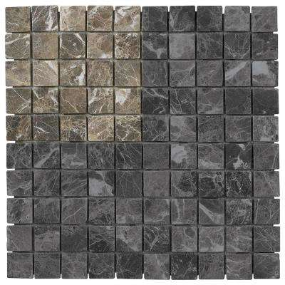 Emperador 3 in. x 6 in. x 8 mm Marble Mosaic Floor/Wall Tile Sample