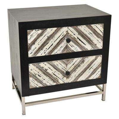 24.5 in. Black Wood and Metal Cabinet