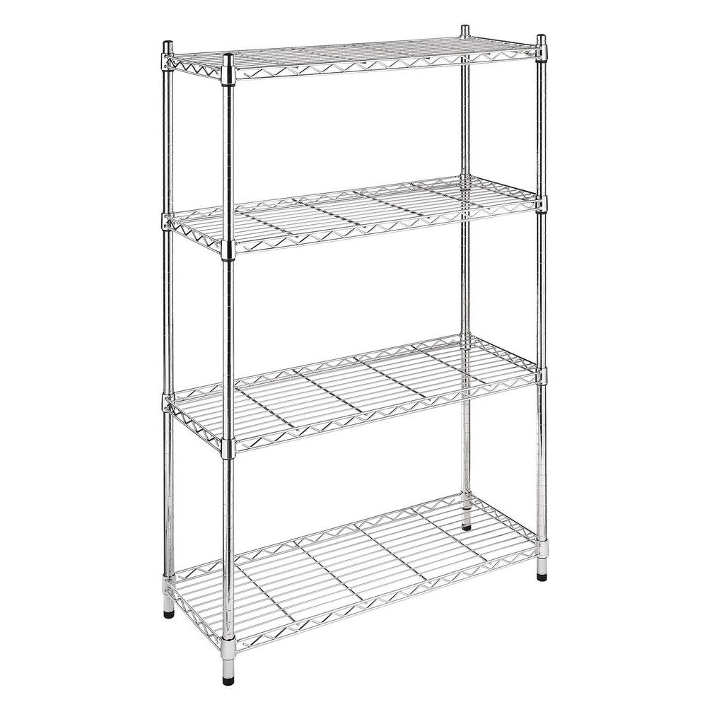 Whitmor Deluxe Rack Collection 36 in. x 54 in. Supreme 4-Tier Shelving in Chrome